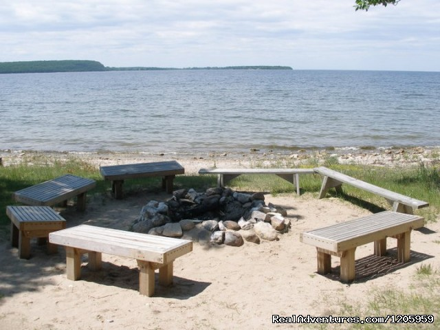 Campfire area on the beach - Bay Shore Inn