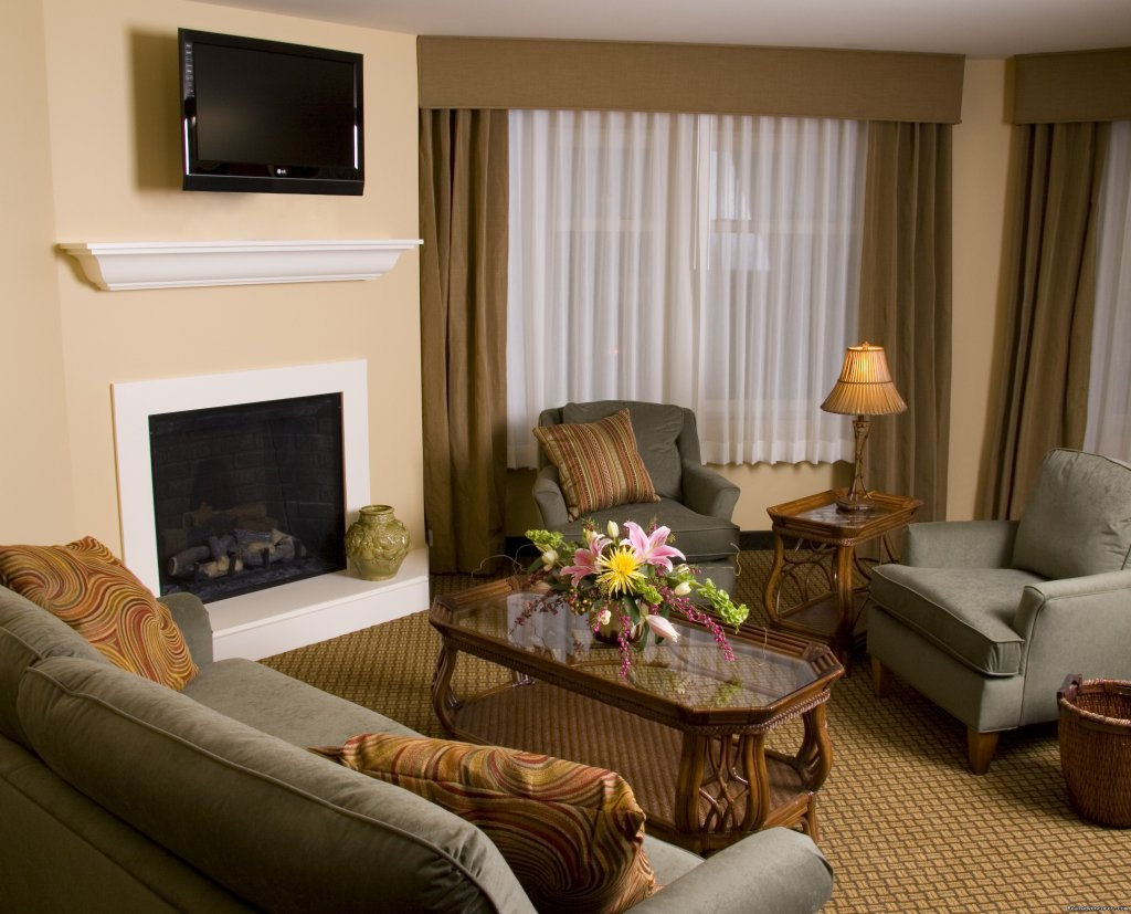 East Ultimate Suite Living Area, fireplace | Image #11/15 | The Jefferson Street Inn - Comfortable Elegance!
