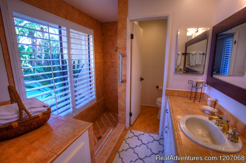 Master Bath with Roman Tub & Shower plus Pool View | Image #5/8 | Sinful Seclusion in Uptown- Palm Springs TOT3100