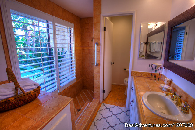 Master Bath with Roman Tub & Shower plus Pool View - Private Pool Vacation Villas at Sundance Villas