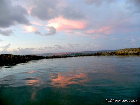 Pink clouds reflected in the natural coral swimming pool - SeaViewPlay  New Pool & Fabulous Ocean Front Villa
