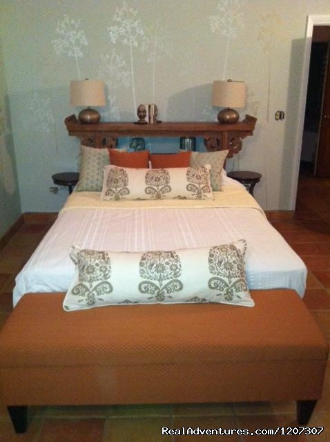 New Atrium Bedroom with Teak Headboard - SeaViewPlay  New Pool & Fabulous Ocean Front Villa