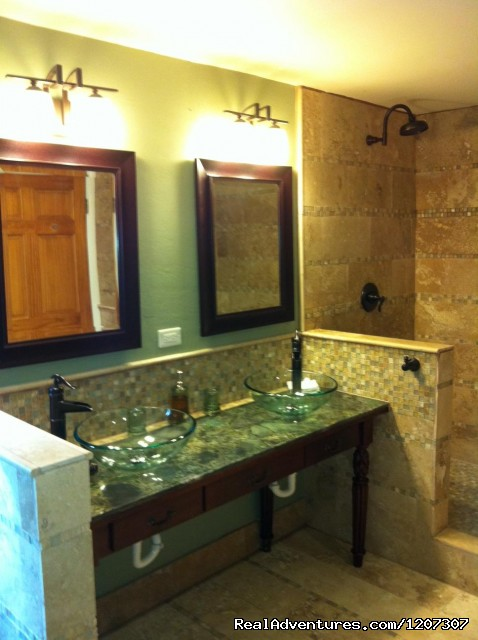 Beautiful new West Bathroom with double shower heads - SeaViewPlay  New Pool & Fabulous Ocean Front Villa