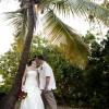 Wedding Couple Kissing under a Palm Tree