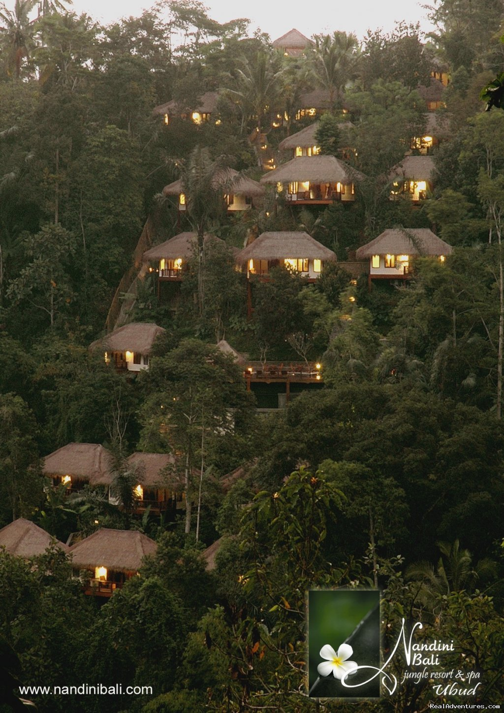 On the slopes of the Ayung River Valley, in the heart of the rainforest, the hotel offers complete relaxation in a spectacular setting.