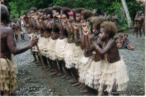 Cultural entertainment, dressed in traditional costume (#8 of 14) - Villagestay & Trekking in Solomon Islands.