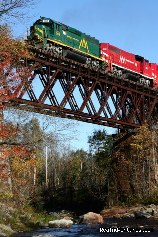 Train over Bridge (#16 of 25) - Green Mountain Railroad- Route of the Flyers