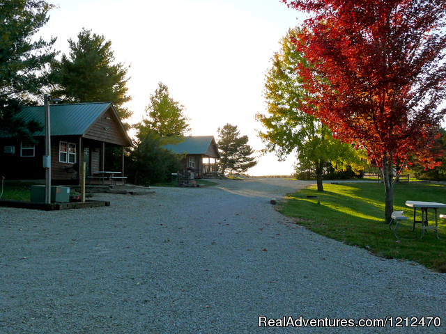 Cabins 1 and 2 in fall - Relax at Pine Ridge Retreat & Lodging