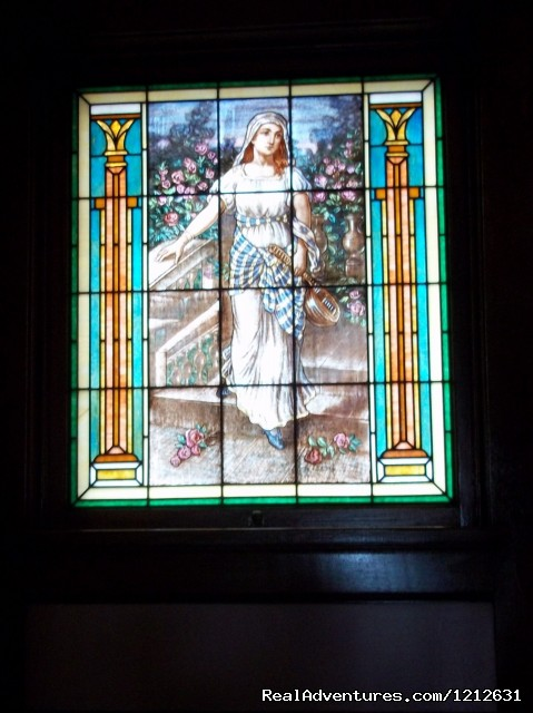 Tiffany window, St. Cecelia - Patron Saint of Musicians - Wonderfully romantic stays at the Mandolin Inn