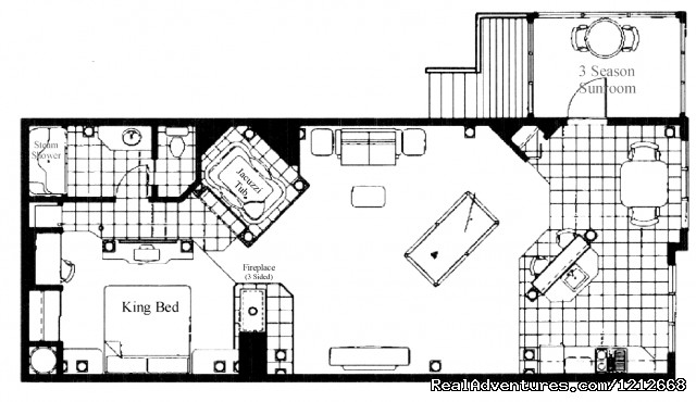 Country Charm Resort - Cabin 10 - Ultra Luxury Cabin- layout - Country Charm Romantic Resort
