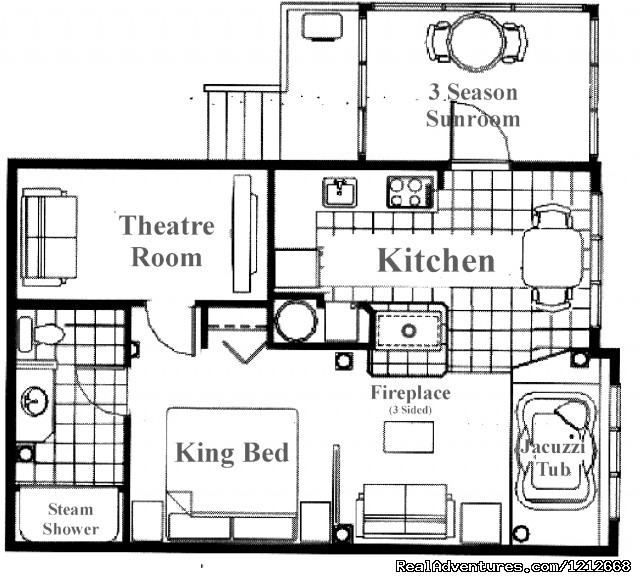 Country Charm Resort - Cabin 4 - Theater Room - layout - Country Charm Romantic Resort
