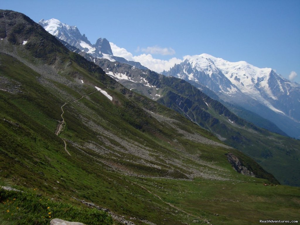 An alpine trail with Mont Blanc in the background | Image #3/9 | Guided Treks In The Swiss Alps
