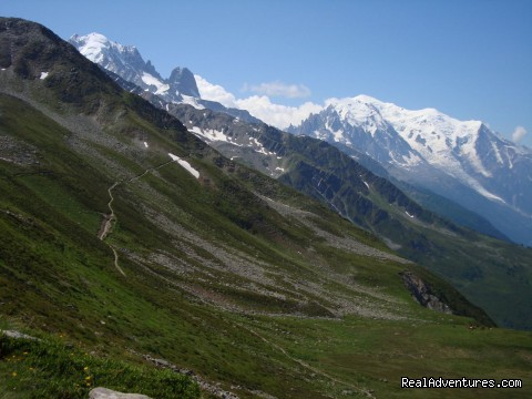 An alpine trail with Mont Blanc in the background - Guided Treks In The Swiss Alps