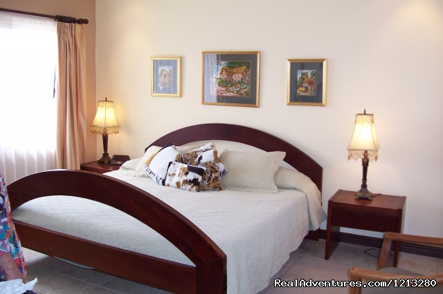 Master bedroom with king-sized bed and private bath - Bibi's 'Family' Guest Home With Us,You're Family