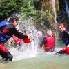 Water splash after canyoning tour