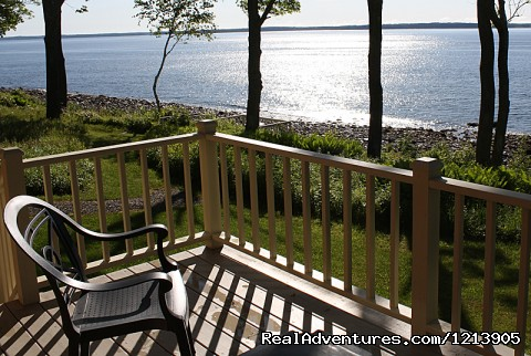 Camden ME Oceanfront B&B Romantic Hideaway Inn Private Oceanfront Decks at Cedarholm Garden Bay Inn