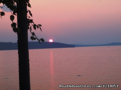 Moosehead Lake Sunset at The Cozy Moose  - Moosehead Cabin Adventure - Lake, Mountain & Moose