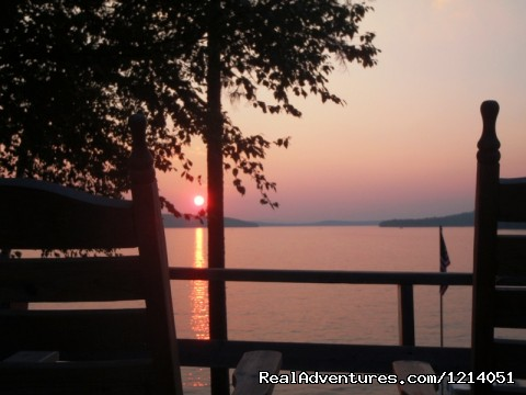 Lakefront Cabin Rental, Moosehead Lake View Fom Deck - Moosehead Cabin Adventure - Lake, Mountain & Moose
