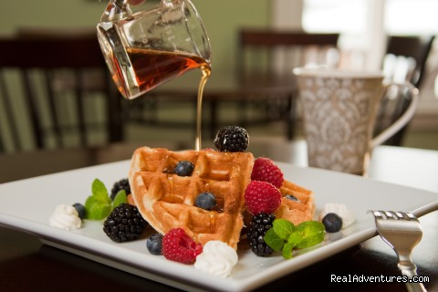Bumbleberry Belgian Waffles & Pure Maine Maple Syrup - Clark Point Inn - A Relaxing Encounter By The Sea