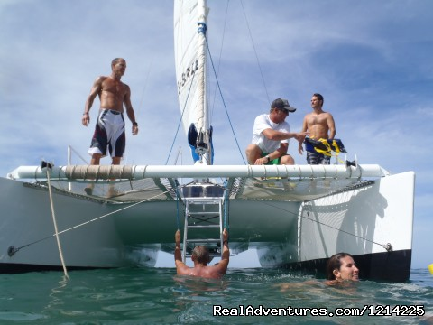 ladder to the water makes it easy - Sail, snorkel, shine, relax aboard the Katarina