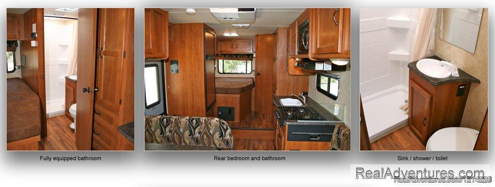 Motorhome Interior View: Fully Equipped Bathrooms and Beds | Image #12/25 | Alaska RV Rentals | Anchorage Motorhome Rentals