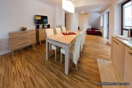 These apartments are well-located near the centre of Zakopane, a popular winter ski resort. Situated not far from the slopes. Access to the swimming pool, sauna & jacuzzi is included in the price of accomodation. Apartment is suitable for 5-6 persons
