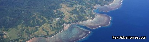 Aerial shot of Kadavu Island on an Pacific Sun flight - Waisalima Beach Resort & Dive Centre