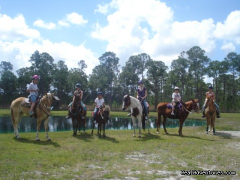 Gettting ready to head for the trails - Horseback Riding Camp & Horseback Riding Lessons