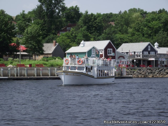 Departing Ritchie Wharf for a fun river tour - Miramichi River Boat Tour