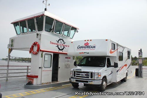 Getting on the ferry in Quebec - CanaDream RV Rentals & Sales - Montreal