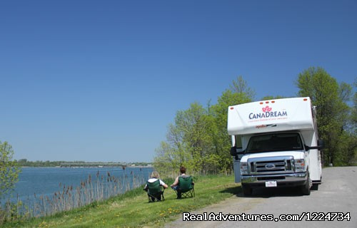 Enjoying a lakeside view in Quebec - CanaDream RV Rentals & Sales - Montreal