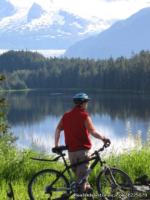 Cycle Alaska: In front of Auke Lake