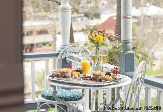 Breakfast is delivered right to your suite - Cliff Cottage B&B Luxury Suites/Historic Cottages