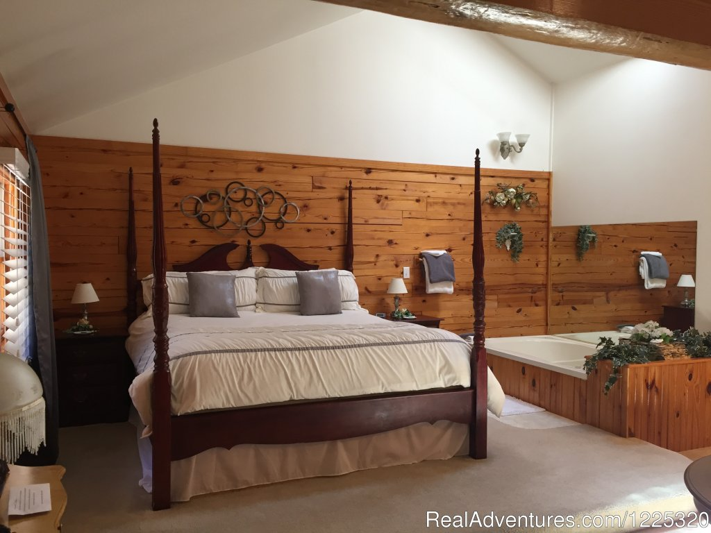 Nights in White Satin Bedroom area | Image #6/26 | Wisteria Lane Incurably Romantic Log Cabin Lodging
