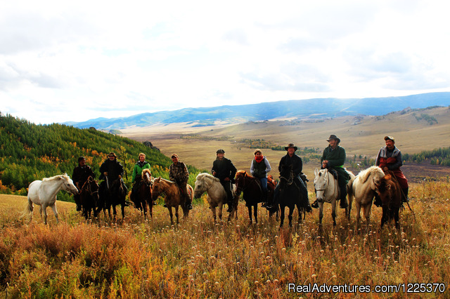 Experience horseback adventure in Mongolia Group Photo of Khagiin Khar Horse trek 2013