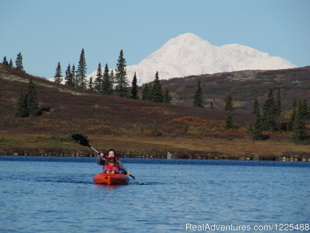 Kayaking with Mt. Hunter in Background