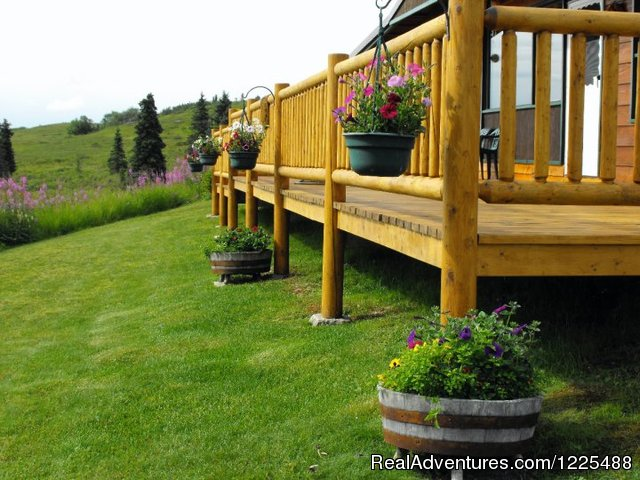 Front Deck and Flowers - Caribou Lodge Alaska