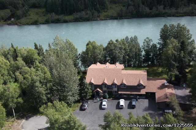 Aerial view of Lodge directly on the Kenai River - A Alaska Fishing Lodge and Soldotna B&B