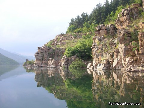 Awesome Rocks For Jumping Into The Clear Water Of The Lake - 3 days water trip Canoeing & Camping Kardjali Lake