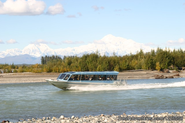 McKinley Queen on the Talkeetna River in front of Denali (#2 of 5) - Mahay's Jet Boat Adventures