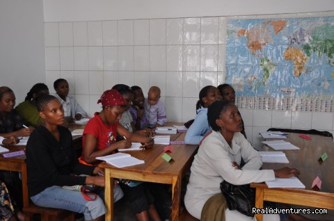 English classroom - Volunteer with women by Kilimanjaro, Tanzania