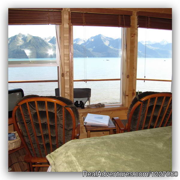 View from Bed in Cloud 9 - The Best Waterfront Lodging in Seward Alaska