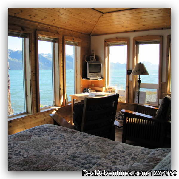 View from the Gatehouse Cabin bed - The Best Waterfront Lodging in Seward Alaska