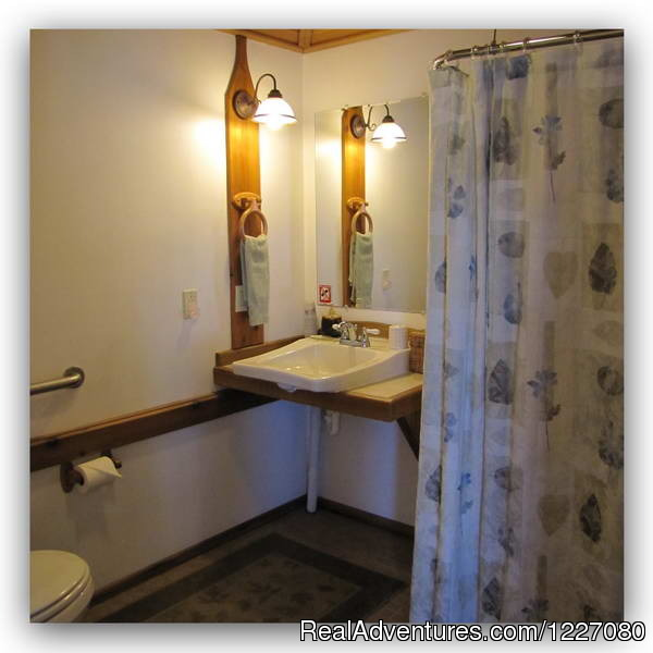 The bathroom sink in the Gatehouse Cabin - The Best Waterfront Lodging in Seward Alaska