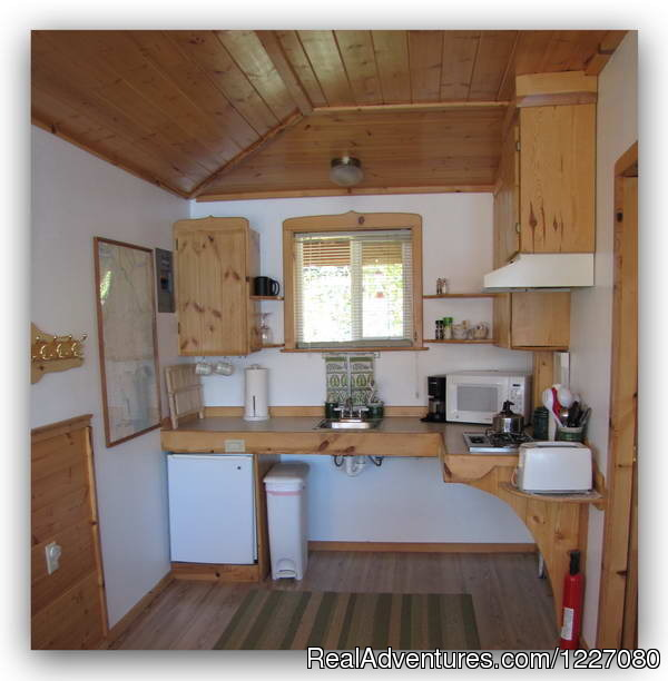 Gatehouse Cabin kitchenette - The Best Waterfront Lodging in Seward Alaska