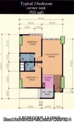 2 Bed Rooms layout Floor Floor - 1 Borneo Tower B - Service Apartment / Condominium