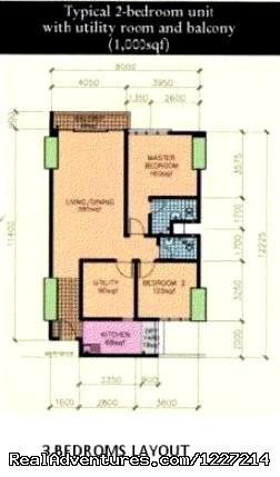 3 Bed Rooms layout Floor Plan - 1 Borneo Tower B - Service Apartment / Condominium