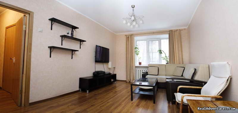 Welcome-to-Russia Company offers you a two-room apartment for short term rent in Moscow, metro station Sretenskiy Boulevard, Chistye Prudy, Turgenevskaya, Krasnye Vorota, 3 minute walk from the metro. The apartment is fully-equipped. Price from $144/