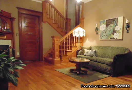 The Parlor & Grand Staircase - Come  and Enjoy the Franklin Street Inn B&B