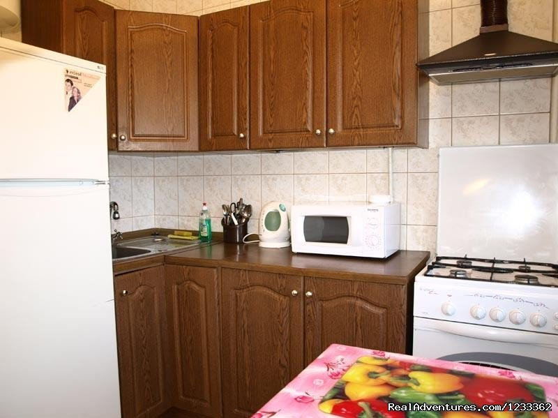 "Welcome-to-Russia Company offers you a one-room apartment in 5 minutes walk from the metro station ""Dvoretz Ukraina"".  Price from $89/night."